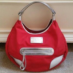 Kate Spade Karen Hobo Bag Red Silver Auth